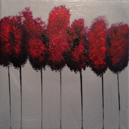 """7 Red Trees, 8"""" x 8""""; Acrylic on canvas; AVAILABLE"""