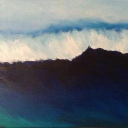 """Deep Blue Sea, 20"""" x 16""""; Acrylic on canvas"""