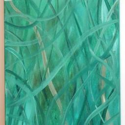 """Into the Forest, 12"""" x 24""""; Acrylic on canvas; SOLD"""