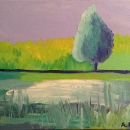 """One Fine Day, 14"""" x 11""""; Acrylic on canvas; SOLD"""