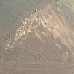 "Snow-Covered Mountain, 6"" x 6""; Acrylic on canvas"