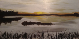 "Sunset on the Lake, 12"" x 24""; Acrylic on wood; SOLD"