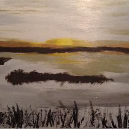"""Sunset on the Lake, 12"""" x 24""""; Acrylic on wood"""