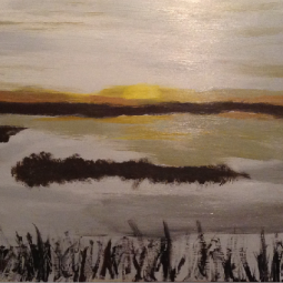 "Sunset on the Lake, 12"" x 24""; Acrylic on wood; SOLD"