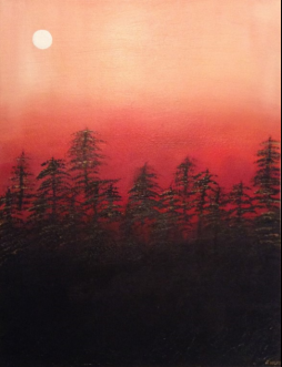 "Twilight Moon, 18"" x 24""; Acrylic on canvas; AVAILABLE"