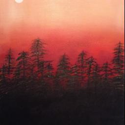 "Twilight Moon, 18"" x 24""; Acrylic on canvas"