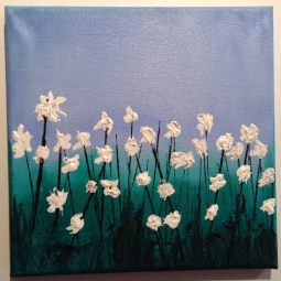 """In the Cotton Field; 8"""" x 8""""; Acrylic on canvas; SOLD"""