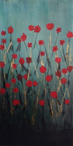 "Poppyfield; 12"" x 24""; Acrylic on Wood; AVAILABLE"