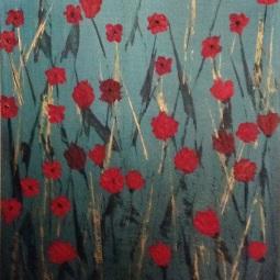 "Poppyfield; 12"" x 24""; Acrylic on Wood"
