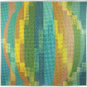 "PIXEL BALL (AQUA); 40"" square; Digital Surface Design generated with halftones; NFS YET"