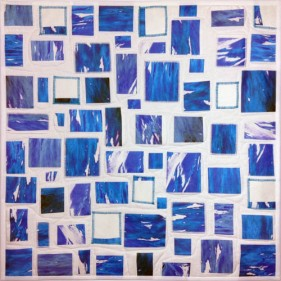 "DECONSTRUCTED BLUE; 24"" square; Digitally printed silk fabric; AVAILABLE"